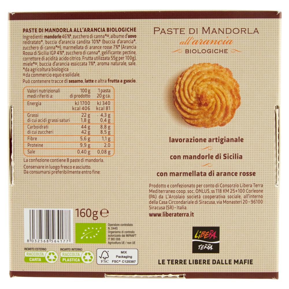 Paste di Mandorla all'Arancia Biologiche 160g