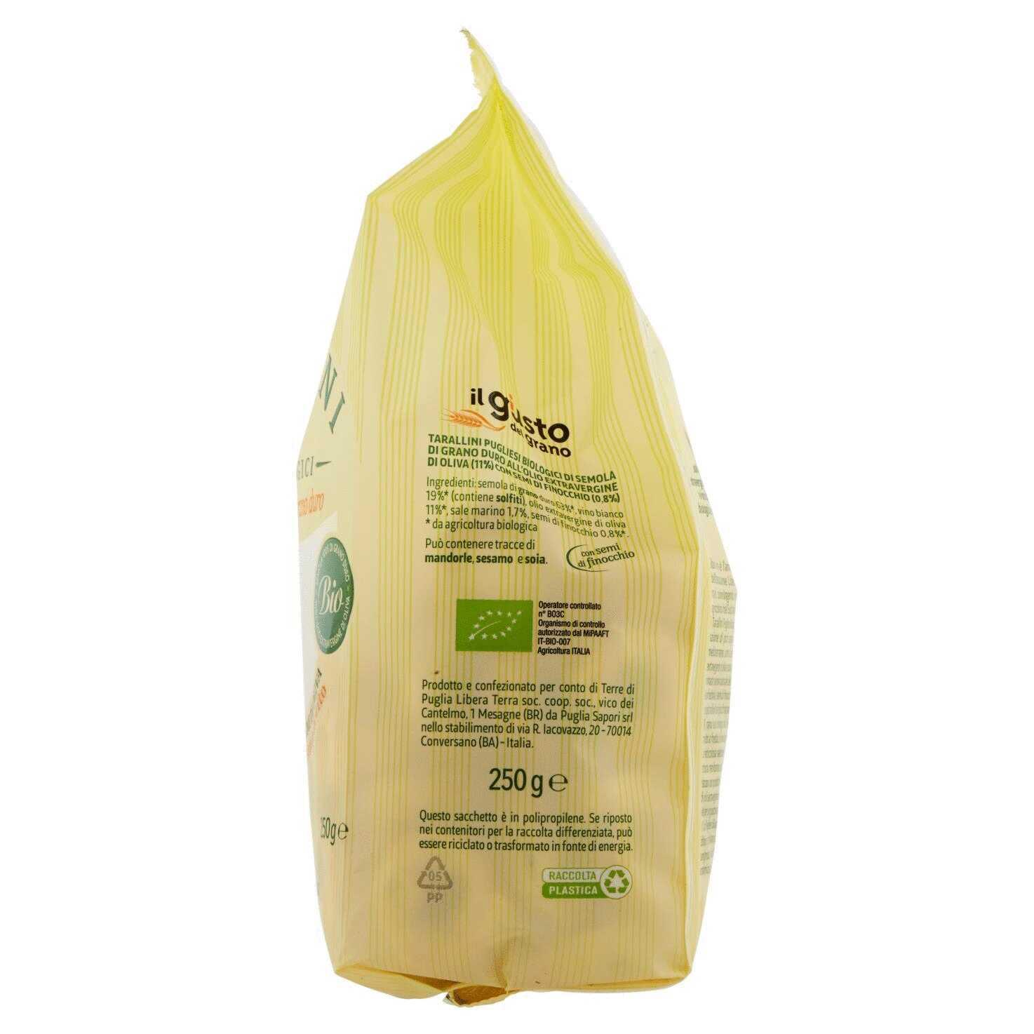Tarallini Pugliesi Biologici di Grano Duro con Semi di Finocchio 250g